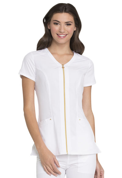 Love Always Women's Zip Front V-Neck Top White