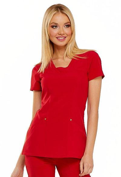 V-Neck Top in Red