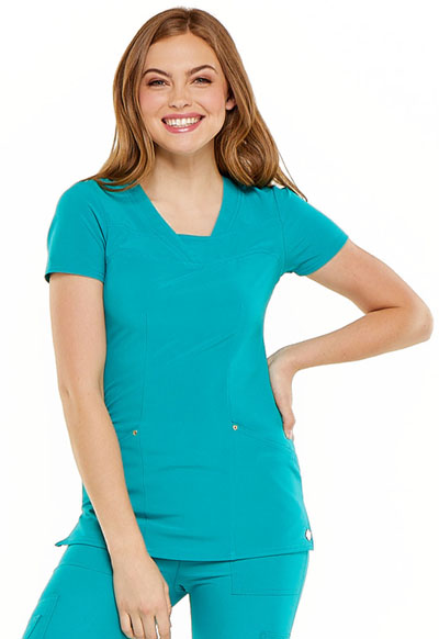 V-Neck Top in Teal Blue