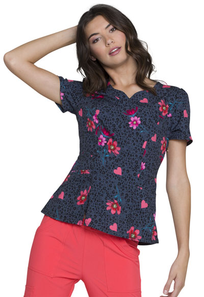 HeartSoul Prints Women's Shaped V-Neck Top Love's In Bloom