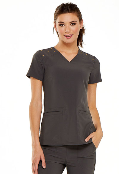 V-Neck Top in Pewter
