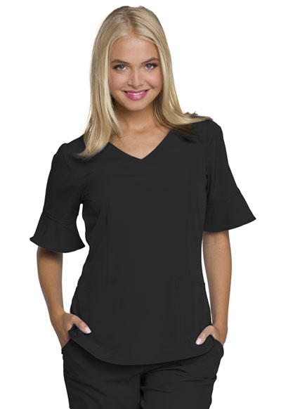 Mock Wrap Top in Black