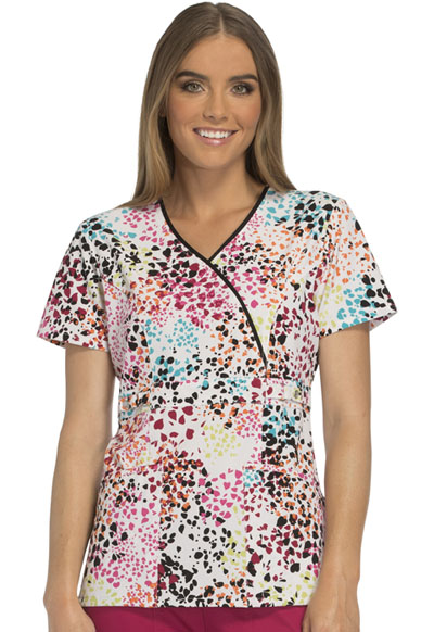 Runway Prints Womens Mock Wrap Top Spotted Heart