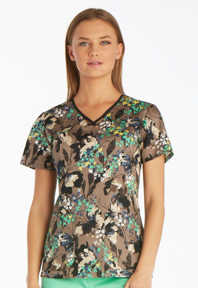 Runway Prints Women's V-Neck Top Flutter Fantasia
