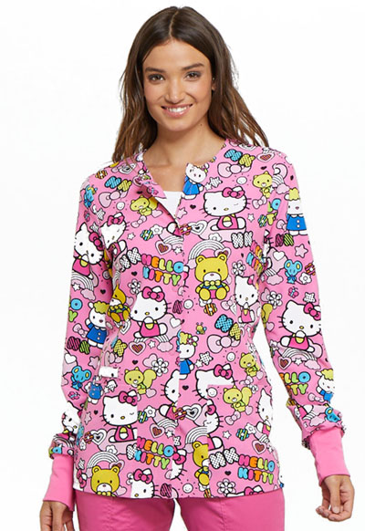 Licensed Prints Women's Snap Front Warm-Up Jacket Color Me Hello Kitty
