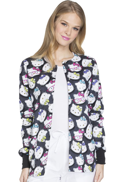 Cherokee Licensed Women's Snap Front Warm-Up Jacket Hello Kitty Glasses