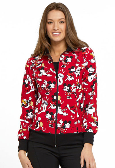 Licensed Prints Women's Zip Front Warm-up Jacket Heritage Mickey