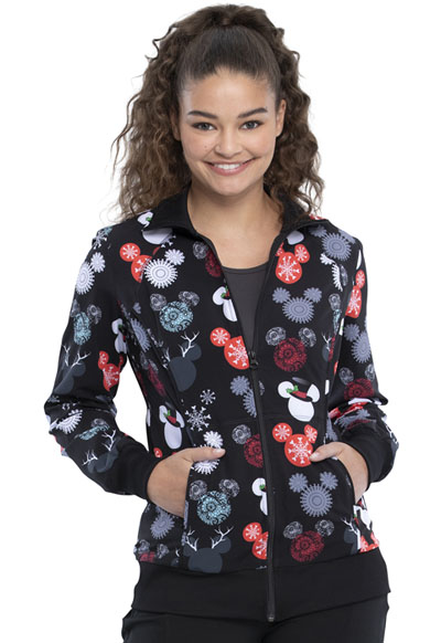 Licensed Prints Women Zip Front Warm-up Jacket That's Snow Mickey