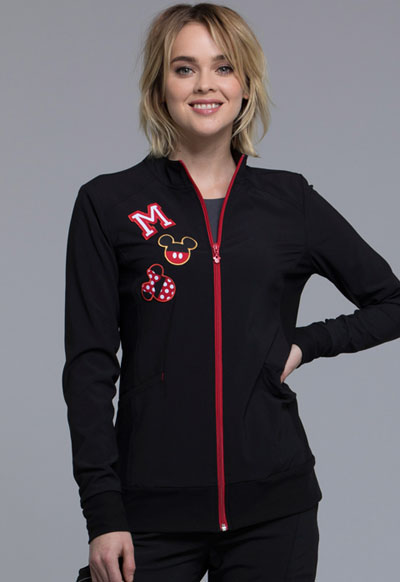 Cherokee Licensed Women's Zip Front Warm-Up Jacket Black