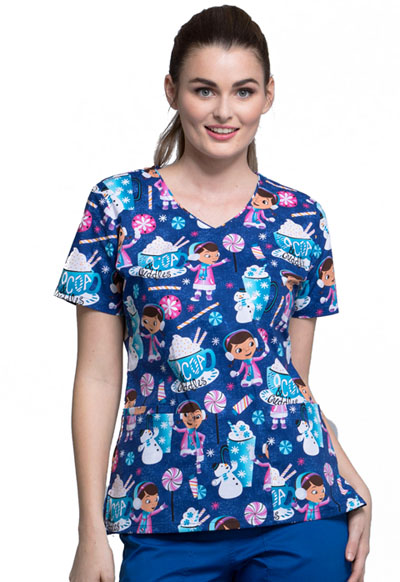 Licensed Prints Women's V-Neck Top Cocoa Cuddles