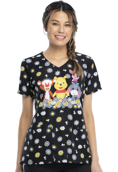Licensed Prints Women V-Neck Top Sunshine Pooh