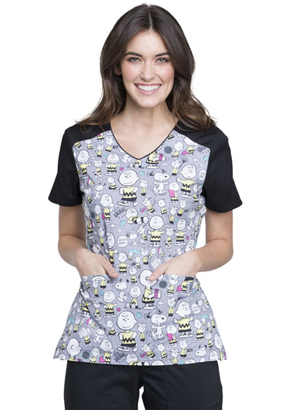 Licensed Prints Women's V-Neck Top with Welt Pockets Charlie Brown