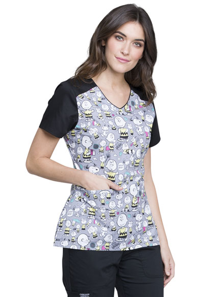 628c83b027f Photograph of Licensed Prints Women's V-Neck Top with Welt Pockets Charlie  Brown TF624-