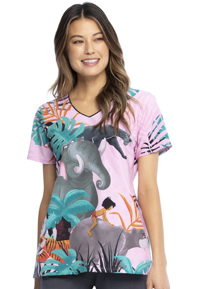 Licensed Prints Women V-Neck Top Mowgli And Friends