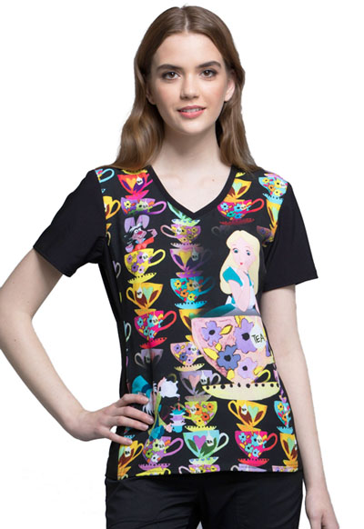 Licensed Prints Women's V-Neck Top Alice Tea Time