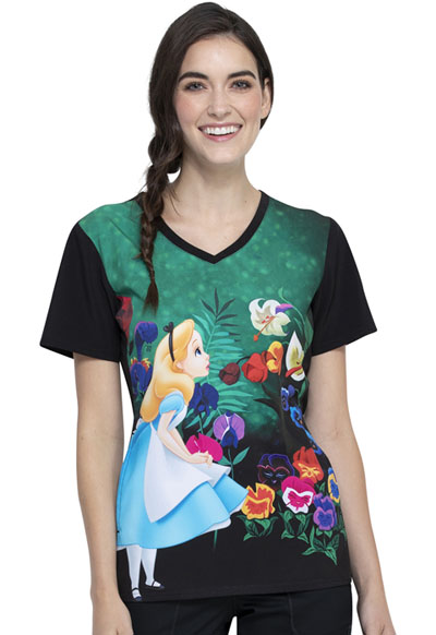 Licensed Prints Women V-Neck Top Wonderland Alice