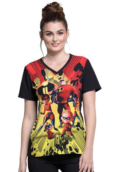 Cherokee Licensed Women's V-Neck Top Incredibles II