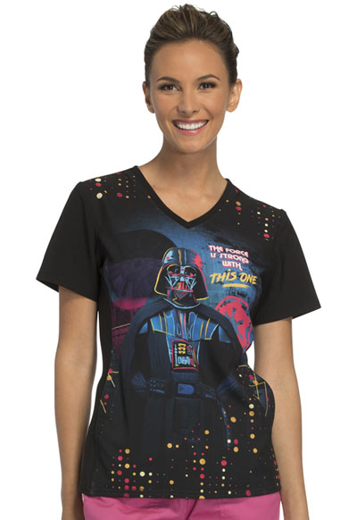 Cherokee Licensed Women's V-Neck Top The Force Is Strong