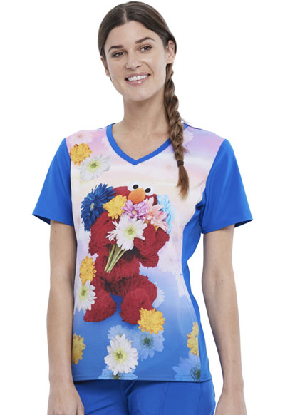 Licensed Prints Women V-Neck Top Elmo Flowers
