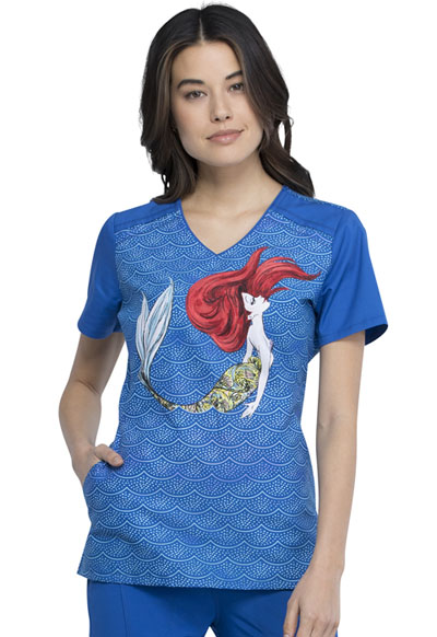 Licensed Prints Women V-Neck Top Mermaid Life