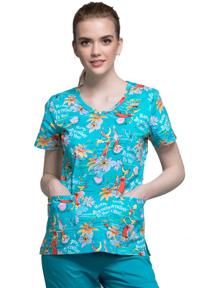 Licensed Prints Women's V-Neck Top Happy Birthday