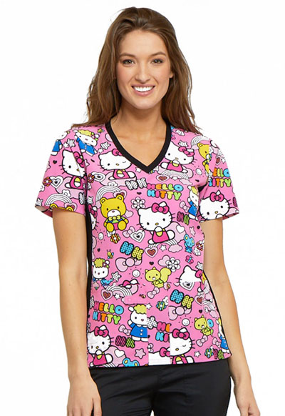 Cherokee Licensed Women's V-Neck Knit Panel Top Color Me Hello Kitty