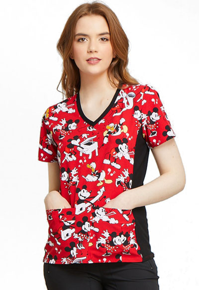 Cherokee Licensed Women's V-Neck Knit Panel Top Heritage Mickey