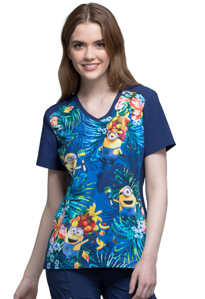 Licensed Prints Women's V-Neck Top Minions Samba