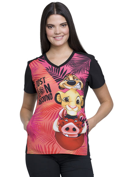 Licensed Prints Women's V-Neck Top Lion Around