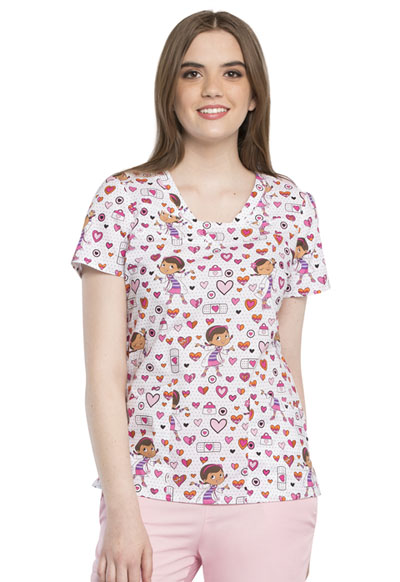 Licensed Prints Women's V-Neck Top Polka Docs