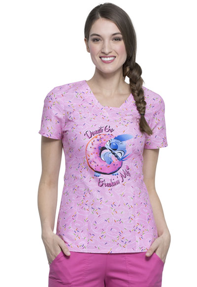 Licensed Prints Women V-Neck Top Donut Break
