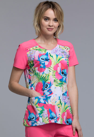 Licensed Prints Women's V-Neck Top Stitch in Paradise