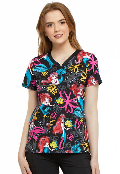 Licensed Prints Women's V-Neck Top Ariel's Garden