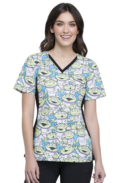 Licensed Prints Women's V-Neck Knit Panel Top Alien Life Form