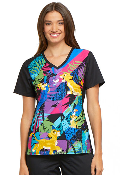 Licensed Prints Women's V-Neck Knit Panel Top Simba's Friends