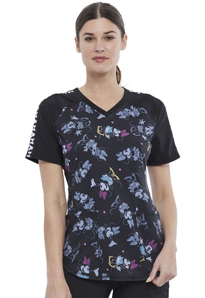 Licensed Prints Women V-Neck Top Many Minnies