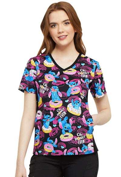 Licensed Prints Women's V-Neck Knit Panel Top Donut Even