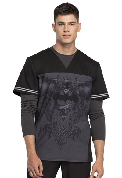 Licensed Prints Men's Men's V-Neck Top Batman Dark Knight