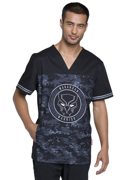 Licensed Prints Men Men's V-Neck Top Wakandan Warrior