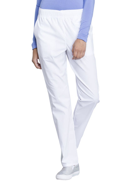Workwear WW Professionals Women Natural Rise Tapered Leg Drawstring Pant White