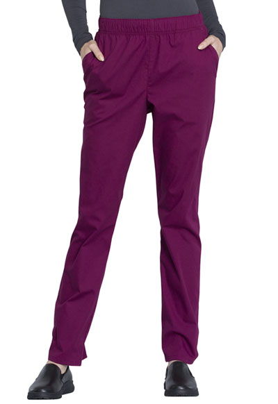 Workwear WW Professionals Women's Natural Rise Tapered Leg Drawstring Pant Red
