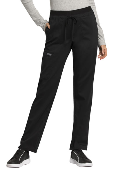 WW Revolution Women's Mid Rise Tapered Leg Drawstring Pant Black