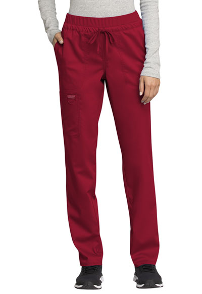 WW Revolution Women Mid Rise Tapered Leg Drawstring Pant Red