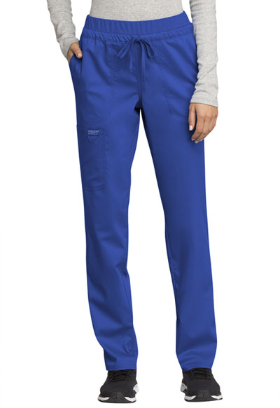 WW Revolution Women's Mid Rise Tapered Leg Drawstring Pant Blue