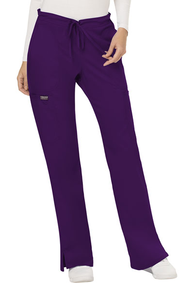 WW Revolution Women's Mid Rise Moderate Flare Drawstring Pant Purple