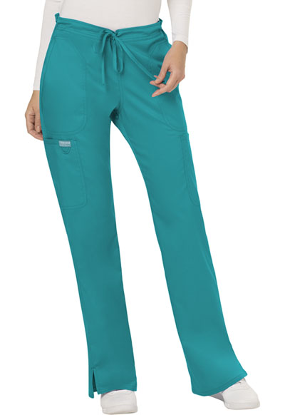 WW Revolution Women's Mid Rise Moderate Flare Drawstring Pant Blue