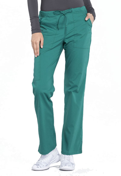 Workwear WW Professionals Women's Mid Rise Straight Leg Drawstring Pant Green