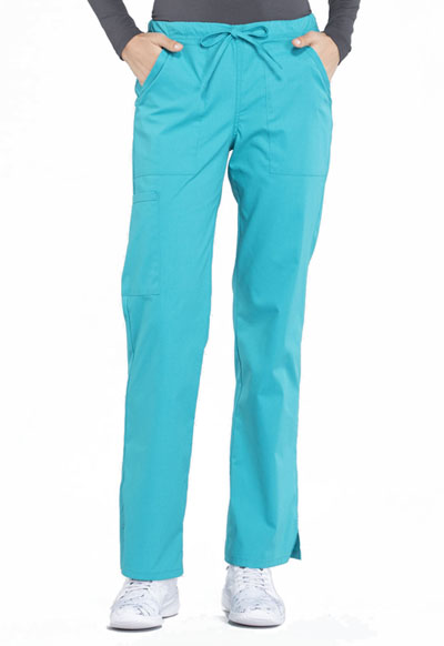 Workwear WW Professionals Women's Mid Rise Straight Leg Drawstring Pant Blue