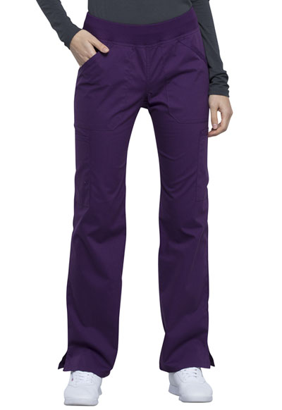 Workwear WW Professionals Women Mid Rise Straight Leg Pull-on Cargo Pant Purple