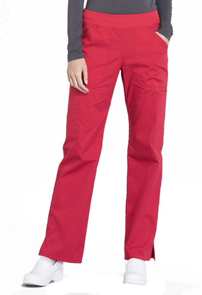Workwear WW Professionals Women Mid Rise Straight Leg Pull-on Cargo Pant Red